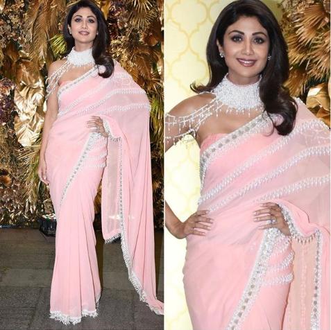 Shilpa Shetty in a pink sari