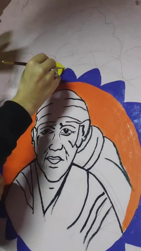 sai baba wall painting