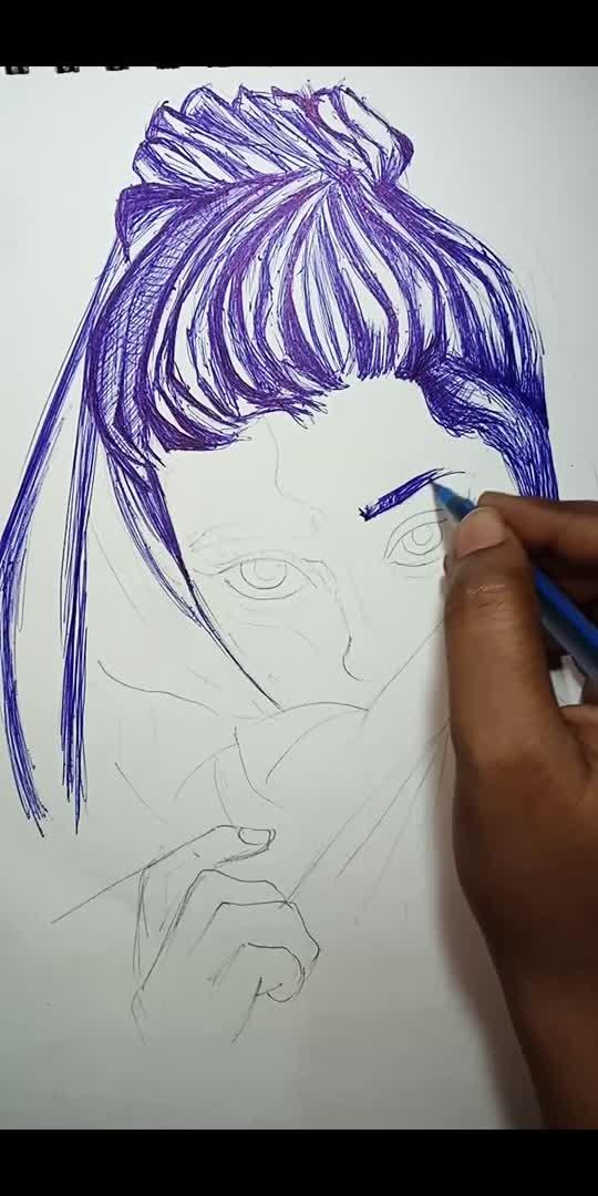 Ball pen sketching of a woman  #roposostarschannels