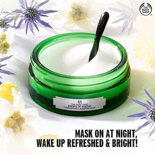 Don't let your skin care ritual end without our Drops of Youth Bouncy Sleeping Mask. Wake up to a refreshed and cleansed skin after every use. Shop now: https://www.thebodyshop.in/
