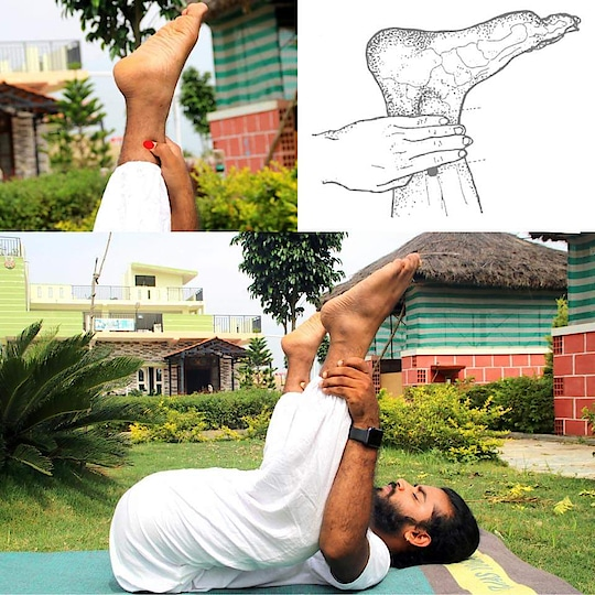 Ananda Balalasana practicing daily with #sp6 Pressure point makes to cure #menstrual #cramps, regular #periods, #strengthening #spleen, #cures #urinary #disorders, as well as #emotional and #sleep disorders. And helps to #digestion  #yogabandhuprashanth  #ojasyogaacademy #immunebooster