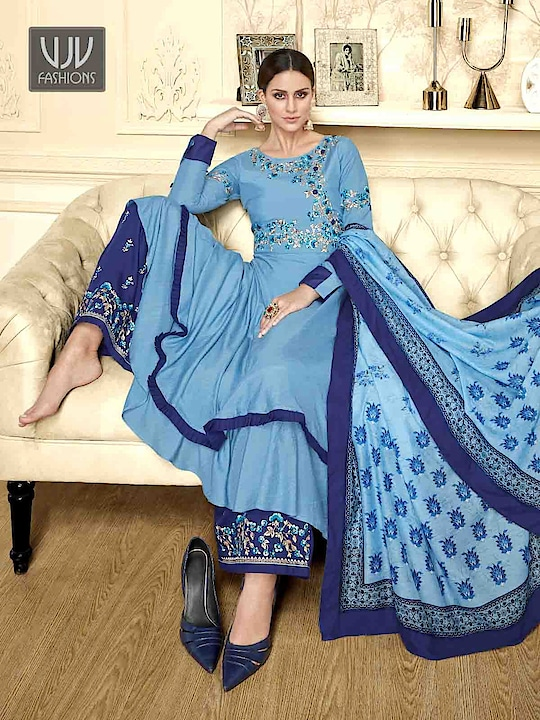 Buy Now @ https://bit.ly/2SeHmqN  Wonderful Blue Color Fancy Fabric Designer Palazzo Suit  Fabric - Fancy Fabric   Product No 👉 VJV-VOLO1005  @ www.vjvfashions.com