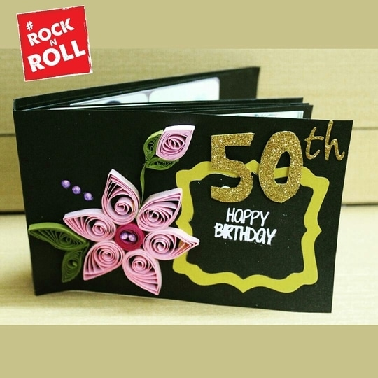 Happy 50th Birthday!! 🎉🎂 To order for your customised cards inbox us at craftorakreations@gmail.com or Whatsapp on 7977024145 #greetingcards #handmadecards #handmadecard #card#customisedcards #customised#customise#craftwork #birthday #birthdaycard #birthdayscrapbook#birthdayscrappy #artsandcrafts #art #craft #craftwork #craftylife #crafting #cardmaking #cardmaker #cardmagic #50thbirthday #50th #quilling #celebrations #craftorakreations #rocknroll