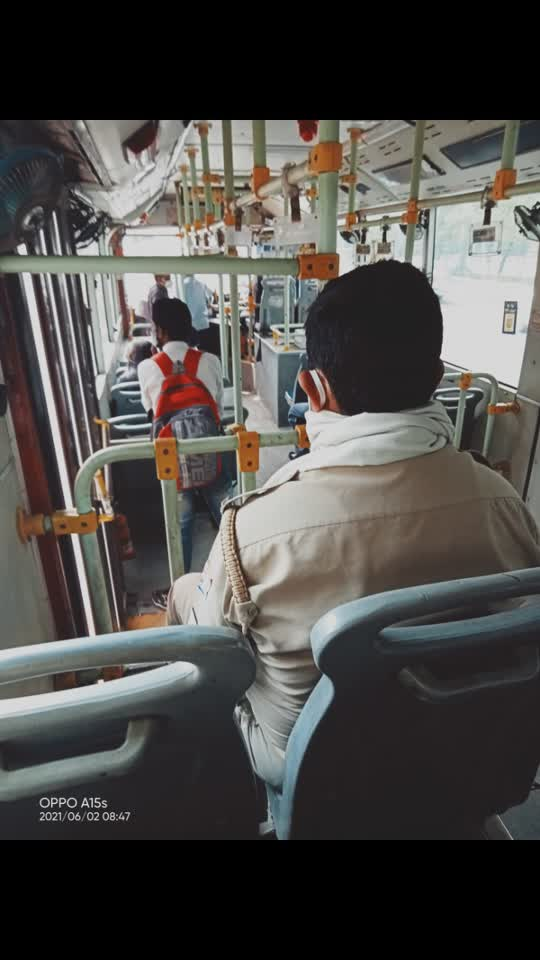 #lockdown2021 In the bus no seat for general people but guard in the bus doing his duty as sitting..